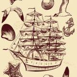 Άνευ ραφής διανυσματικό σχέδιο με το σκάφος, τα κοχύλια και sea-gulls Στοκ Εικόνα