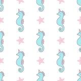 Άνευ ραφής διανυσματικό σχέδιο μονοκέρων Seahorse Στοκ φωτογραφίες με δικαίωμα ελεύθερης χρήσης