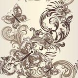 Άνευ ραφής διανυσματικό σχέδιο πεταλούδων με τη διακόσμηση Στοκ εικόνες με δικαίωμα ελεύθερης χρήσης