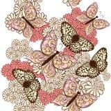 Άνευ ραφής διανυσματικό σχέδιο πεταλούδων Στοκ εικόνα με δικαίωμα ελεύθερης χρήσης