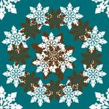 Άνευ ραφής διανυσματικό σχέδιο του άσπρου snowflakes ταξιδιού σε ένα διάνυσμα κύκλων Στοκ Εικόνες