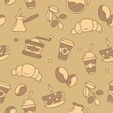 Άνευ ραφής διανυσματικό σχέδιο του καφέ εικονιδίων Στοκ φωτογραφία με δικαίωμα ελεύθερης χρήσης