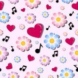 Άνευ ραφής διανυσματικό σχέδιο των λουλουδιών, των κόκκινων καρδιών και των μουσικών νοτών Εορταστικό υπόβαθρο για την ημέρα βαλε Στοκ Εικόνες
