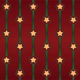 Άνευ ραφής διανυσματικό σχέδιο Cristmas με τα λωρίδες και τα αστέρια Στοκ Φωτογραφία