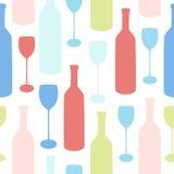 Άνευ ραφής διανυσματικό σχέδιο Minimalistic με τα μπουκάλια και τα γυαλιά Στοκ φωτογραφία με δικαίωμα ελεύθερης χρήσης