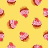 Άνευ ραφής διανυσματικό σχέδιο muffin Στοκ Εικόνες