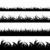 Άνευ ραφής διανυσματικό σύνολο σκιαγραφιών χλόης μαύρο Στοκ Εικόνα