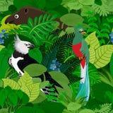 Άνευ ραφής διανυσματικό τροπικό υπόβαθρο ζουγκλών τροπικών δασών με τα ζώα παιδιών Στοκ Εικόνες