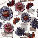Άνευ ραφής διανυσματικό υπόβαθρο ταπετσαριών με τα λουλούδια Στοκ Φωτογραφίες