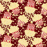 Άνευ ραφής διανυσματικό popcorn υπόβαθρο Στοκ Φωτογραφία