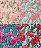 Άνευ ραφής διαστιγμένο σχέδιο λουλουδιών Στοκ Εικόνες