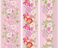 Άνευ ραφής κάθετο σχέδιο δαντελλών με τα διαφορετικά λουλούδια Στοκ Εικόνες