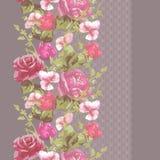 Άνευ ραφής κάθετο σχέδιο δαντελλών με τα τριαντάφυλλα και τα διαφορετικά λουλούδια Στοκ εικόνες με δικαίωμα ελεύθερης χρήσης