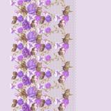 Άνευ ραφής κάθετο σχέδιο δαντελλών με τα τριαντάφυλλα και τα διαφορετικά λουλούδια Στοκ φωτογραφίες με δικαίωμα ελεύθερης χρήσης