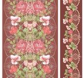 Άνευ ραφής κάθετο σχέδιο δαντελλών με τα τριαντάφυλλα και τα διαφορετικά λουλούδια Στοκ φωτογραφία με δικαίωμα ελεύθερης χρήσης