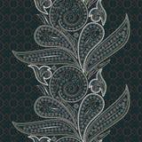 Άνευ ραφής κάθετο σχέδιο δαντελλών με το Paisley και τα λουλούδια Στοκ εικόνα με δικαίωμα ελεύθερης χρήσης