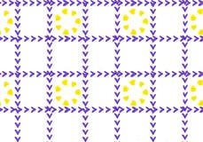Άνευ ραφής κίτρινα καρδιά-διαμορφωμένα λουλούδια σχεδίων στα πορφυρά κλουβιά στο εθνικό ύφος διανυσματική απεικόνιση