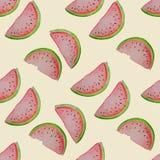 άνευ ραφής καρπούζι προτύπ&omeg Διανυσματική απεικόνιση Watercolor Στοκ Φωτογραφία