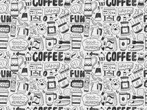Άνευ ραφής καφές doodle Στοκ Εικόνα