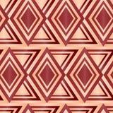 Άνευ ραφής καφετί γεωμετρικό αφηρημένο υπόβαθρο διαμαντιών Στοκ Εικόνες