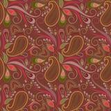 Άνευ ραφής καφετί σχέδιο με το Paisley και τα λουλούδια Διανυσματική τυπωμένη ύλη Στοκ Εικόνες