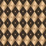 Άνευ ραφής καφετιά γεωμετρικά χρυσά rhombuses κλίσης σχεδίων wiith στοκ εικόνες