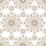 Άνευ ραφής καφετιά σχεδίων mandala στοιχεία δαντελλών mehndi floral των στοιχείων διακοσμήσεων buta στο άσπρο υπόβαθρο στοκ φωτογραφίες με δικαίωμα ελεύθερης χρήσης