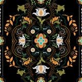 άνευ ραφής κεραμίδι προτύπων ανασκόπησης μαύρο ατελείωτο floral Στοκ Εικόνα
