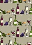 Άνευ ραφής κεραμίδι υποβάθρου κρασιού στο ύφος κινούμενων σχεδίων Στοκ Φωτογραφίες