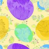 Άνευ ραφής κορδέλλα-τυλιγμένο σχέδιο αυγών Πάσχας Στοκ Φωτογραφίες