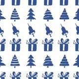 Άνευ ραφής κουδούνια, κιβώτια και fir-trees σχεδίων Στοκ Φωτογραφία