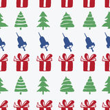 Άνευ ραφής κουδούνια, κιβώτια και fir-trees σχεδίων Στοκ φωτογραφίες με δικαίωμα ελεύθερης χρήσης