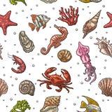 Άνευ ραφής κοχύλι θάλασσας σχεδίων, κοράλλι, σουπιές, κοράλλι, στρείδι, καβούρι, γαρίδες, φύκι, αστέρι, ψάρια διανυσματική απεικόνιση
