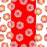 Άνευ ραφής κόκκινα λουλούδια σχεδίων σε ένα άσπρο υπόβαθρο Στοκ φωτογραφία με δικαίωμα ελεύθερης χρήσης