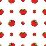 Άνευ ραφής, κόκκινες ντομάτες σχεδίων ντοματών σε ένα άσπρο υπόβαθρο, διανυσματικά λεπτά εικονίδια γραμμών Στοκ φωτογραφία με δικαίωμα ελεύθερης χρήσης
