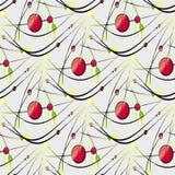 Άνευ ραφής κόκκινος πράσινος κίτρινος σχεδίων κύκλων και ελλείψεων με τις κυρτές μαύρες γραμμές σε γκρίζο Στοκ Εικόνες