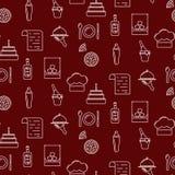 Άνευ ραφής κόκκινο σχέδιο εικονιδίων γραμμών φραγμών Στοκ Εικόνες
