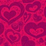 Άνευ ραφής κόκκινο σχέδιο με τις καρδιές Στοκ Φωτογραφίες