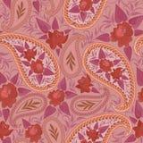 Άνευ ραφής κόκκινο σχέδιο με το Paisley και τα λουλούδια Διανυσματικό τετράγωνο τυπωμένων υλών Στοκ φωτογραφία με δικαίωμα ελεύθερης χρήσης