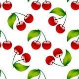 Άνευ ραφής κόκκινο ώριμο berrie κερασιών υποβάθρου σχεδίων Στοκ Φωτογραφίες