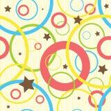 Άνευ ραφής κύκλοι και αστέρια σχεδίων με το υπόβαθρο λωρίδων Στοκ Εικόνες