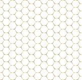 Άνευ ραφής λαμπρό χρυσό Hexagons σχέδιο στο άσπρο υπόβαθρο απεικόνιση αποθεμάτων