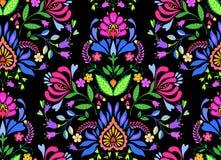 Άνευ ραφής λαϊκό floral σχέδιο Στοκ εικόνα με δικαίωμα ελεύθερης χρήσης
