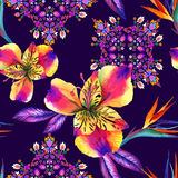 Άνευ ραφής λαός σχεδίων με τα λουλούδια Στοκ Φωτογραφία