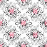 Άνευ ραφής λεπτό σχέδιο των ανθοδεσμών καλοκαίρι κήπων λουλουδιών ανθών Floral άνευ ραφής υπόβαθρο για τις καλύψεις κλωστοϋφαντου Στοκ Εικόνα