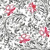 Άνευ ραφής λουλούδια και φύλλα διακοσμήσεων σχεδίων δικτυωτές λεπτές με τις μπούκλες και άμπελοι κόκκινες και μαύρες απεικόνιση αποθεμάτων