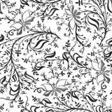 Άνευ ραφής λουλούδια και φύλλα διακοσμήσεων σχεδίων δικτυωτές λεπτές με τις μπούκλες και άμπελοι γκρίζες διανυσματική απεικόνιση