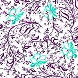 Άνευ ραφής λουλούδια και φύλλα διακοσμήσεων σχεδίων δικτυωτές λεπτές με τις μπούκλες και άμπελοι μπλε και ιώδεις ελεύθερη απεικόνιση δικαιώματος
