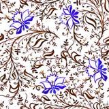 Άνευ ραφής λουλούδια και φύλλα διακοσμήσεων σχεδίων δικτυωτές λεπτές με τις μπούκλες και άμπελοι μπλε και καφετιές ελεύθερη απεικόνιση δικαιώματος