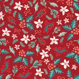 Άνευ ραφής λουλούδια Χριστουγέννων, γκι και διανυσματικό σχέδιο μούρων ελεύθερη απεικόνιση δικαιώματος